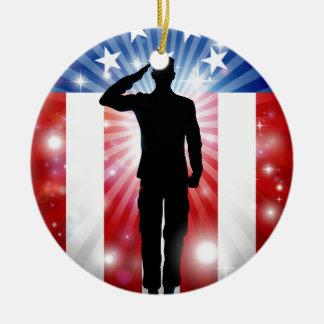 US Soldier Salute Patriotic Background Round Ceramic Decoration