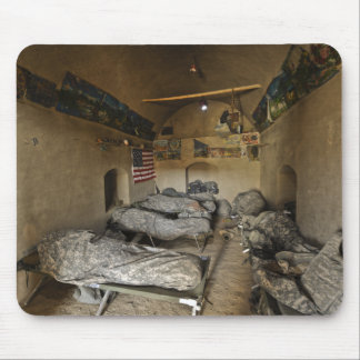 US Soldiers sleep in an abandoned mud house Mouse Mat