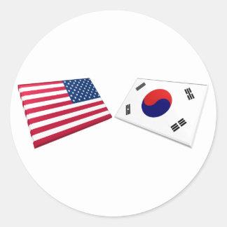 US & South Korea Flags Round Sticker