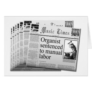 (US sp.) Funny blank card for busy  organists