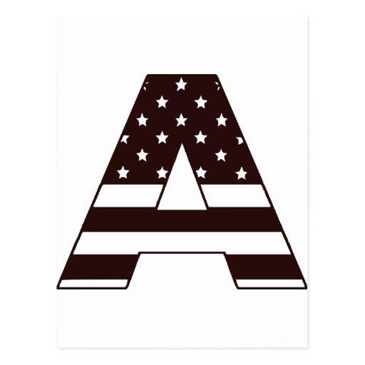 US stars stripes Letter A Postcard