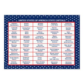 US State Capitals Card 13 Cm X 18 Cm Invitation Card