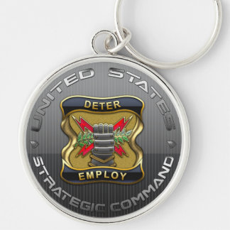 US Strategic Command Silver-Colored Round Key Ring