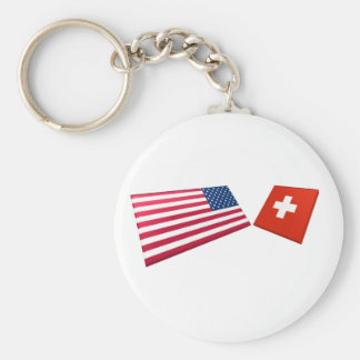 US & Switzerland Flags Key Ring