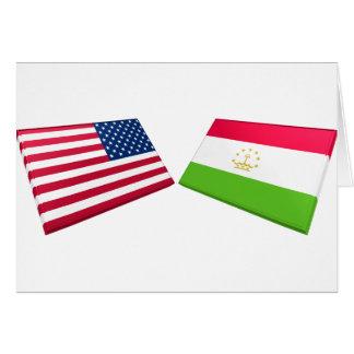 US & Tajikistan Flags Cards