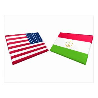 US & Tajikistan Flags Postcards