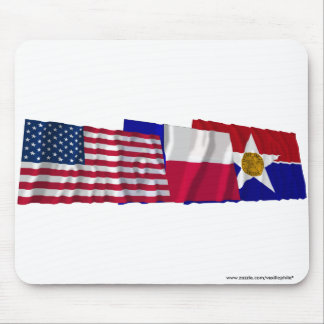 US, Texas and Dallas Flags Mousepads