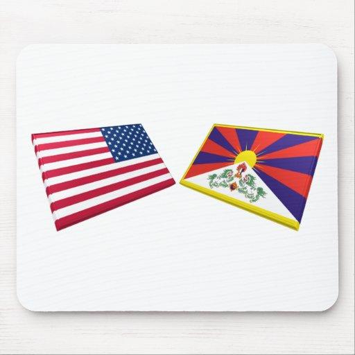 US & Tibet Flags Mouse Mat
