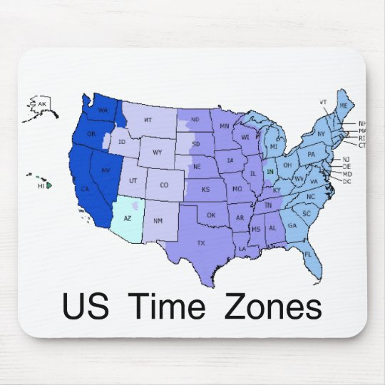 US Time Zones Mouse Pad