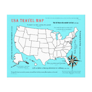 US Travel Map Canvas Print