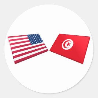 US & Tunisia Flags Classic Round Sticker