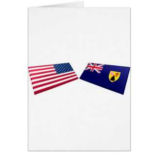 US & Turks and Caicos Islands Flags Cards