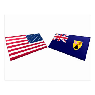 US & Turks and Caicos Islands Flags Postcard