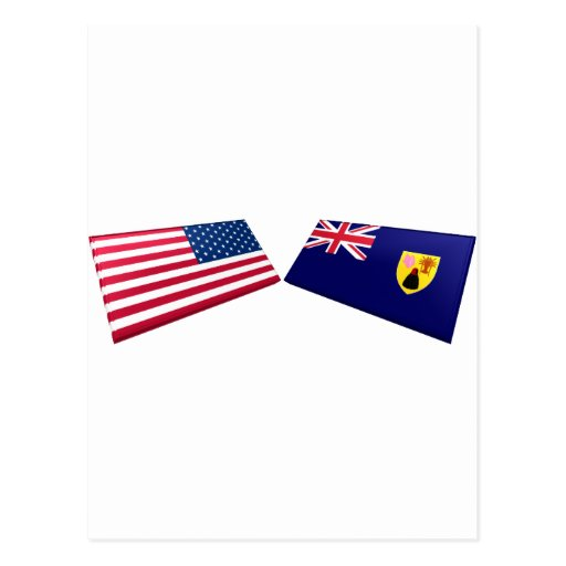US & Turks and Caicos Islands Flags Post Card