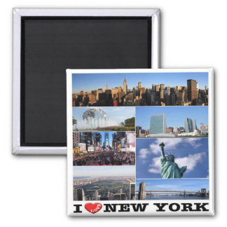 US U.S.A. - New York City - I Love Square Magnet