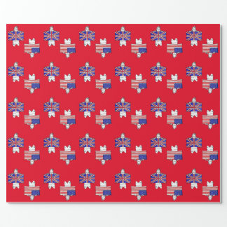 US UK Flag Wrapping Paper - Red