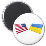 US & Ukraine Flags 6 Cm Round Magnet