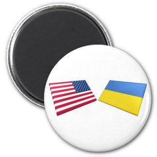 US & Ukraine Flags Magnet