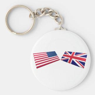 US & United Kingdom Flags Basic Round Button Key Ring
