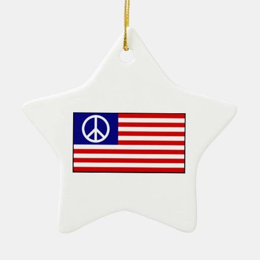 US United States Peace Sign Flag Christmas Tree Ornament