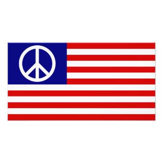 US United States Peace Sign Flag Photo Art