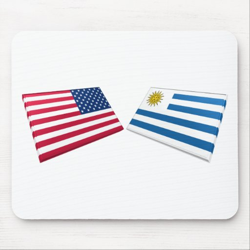 US & Uruguay Flags Mouse Pad