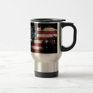 US/USA, SAD flag on black background Travel Mug
