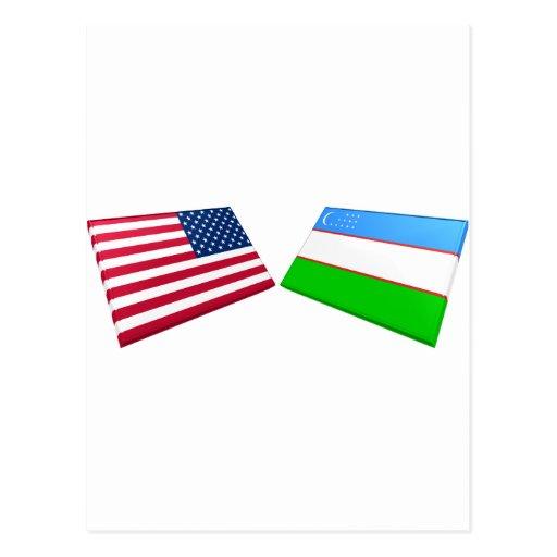 US & Uzbekistan Flags Post Card