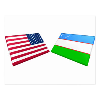 US & Uzbekistan Flags Postcards
