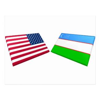 US & Uzbekistan Flags Postcard