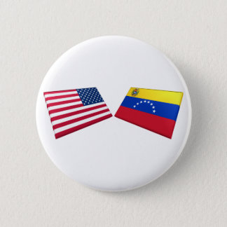 US & Venezuela Flags 6 Cm Round Badge