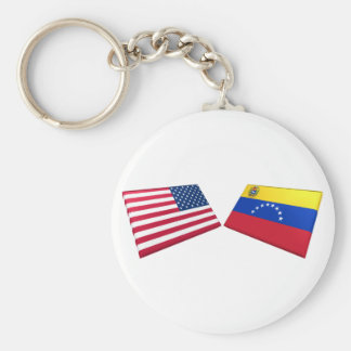 US & Venezuela Flags Key Ring
