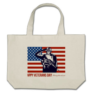 US Veterans Day Remembrance Greeting Card Canvas Bag
