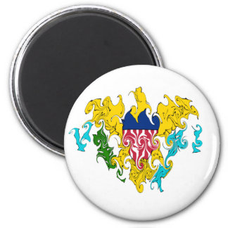 US Virgin Islands Gnarly Flag 6 Cm Round Magnet
