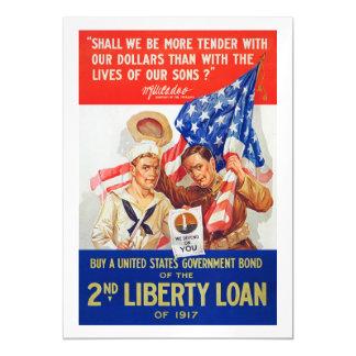 US War Bonds 2nd Liberty Loan 1917 WWI Propaganda Magnetic Invitations