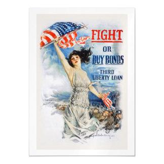 US War Bonds Fight Buy Third Liberty Loan WWI Magnetic Invitations