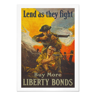 US War Bonds Liberty Lend Fight WWI Propaganda Magnetic Invitations
