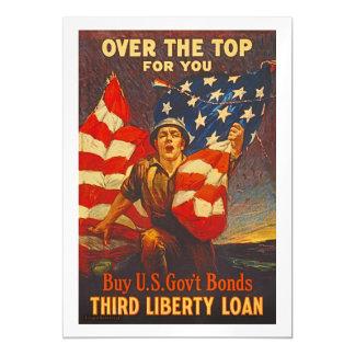 US War Bonds Third Liberty Loan WWI Propaganda Magnetic Invitations