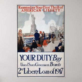 US War Bonds WW1 Poster