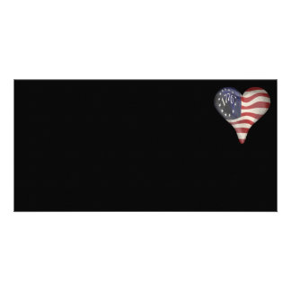 USA 1776 Flag In A Heart Photo Cards