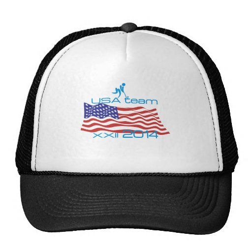 USA 2014 Winter Sports Curling Trucker Hats
