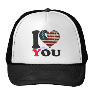 USA 2 FLAG I LOVE YOU CUSTOMIZABLE PRODUCTS MESH HATS