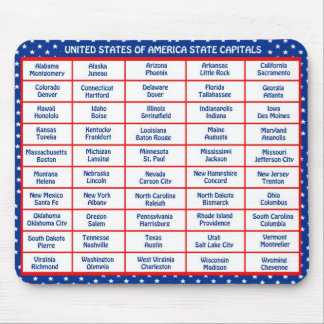 USA - 50 States and Capital Cities Mouse Mat