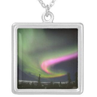 USA, Alaska, Chena Hot Springs. Aurora 2 Square Pendant Necklace