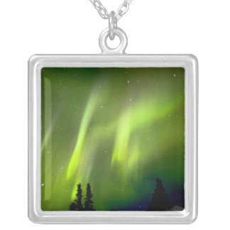 USA, Alaska, Chena Hot Springs. Aurora 3 Silver Plated Necklace
