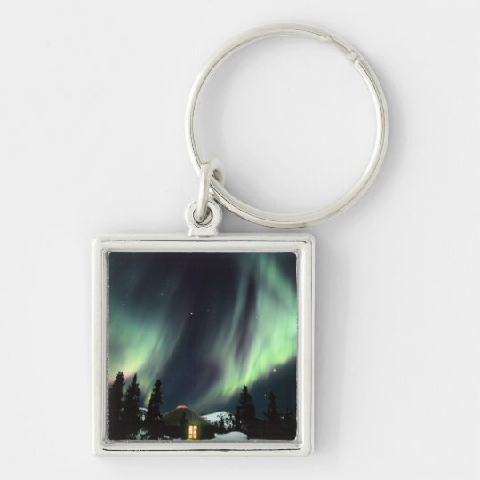 USA, Alaska, Chena Hot Springs. Aurora Silver-Colored Square Key Ring