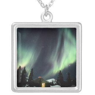 USA, Alaska, Chena Hot Springs. Aurora Square Pendant Necklace