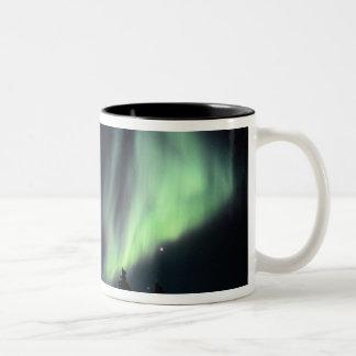 USA, Alaska, Chena Hot Springs. Aurora Two-Tone Coffee Mug