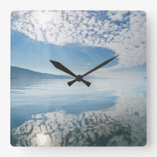 USA, Alaska, Freshwater Bay. Clouds Reflected Square Wall Clock