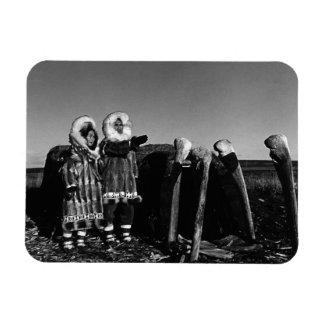 USA Alaska Fur clad eskimo arctic sod igloo 1970 Rectangular Photo Magnet